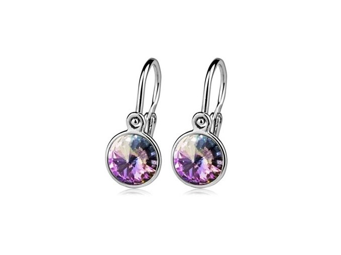Dětské stříbrné náušnice s krystaly Swarovski - duhově fialová 6 mm