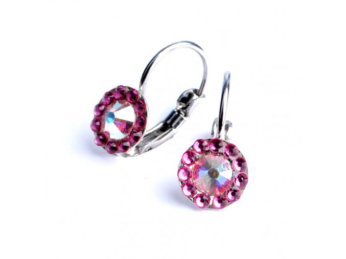 Dívčí náušnice Swarovski – kytičky tmavě růžové
