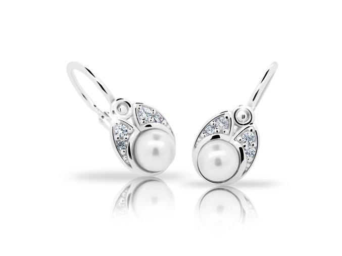 Dětské náušnice Cutie C2254-Ag White - stříbrné s bílou perlou