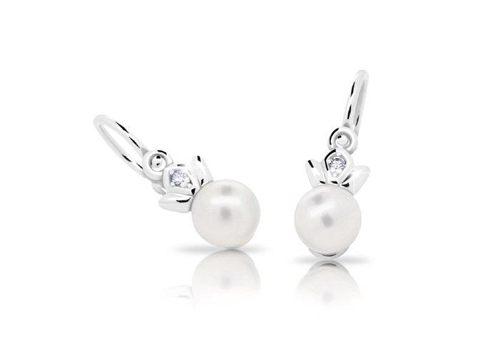 Dětské náušnice Cutie C2267-Ag White - stříbrné s bílou perlou