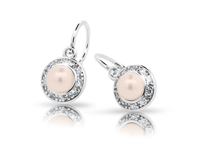 Dětské náušnice Cutie C2393-Ag Peach - stříbrné s perlou