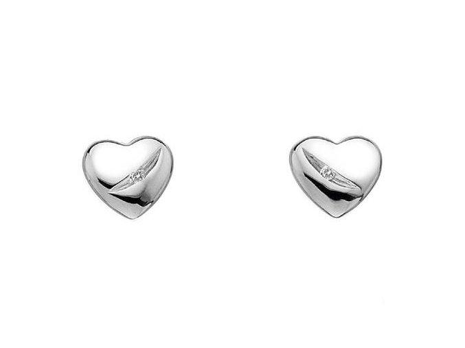 Stříbrné náušnice Hot Diamonds - srdíčka s diamanty