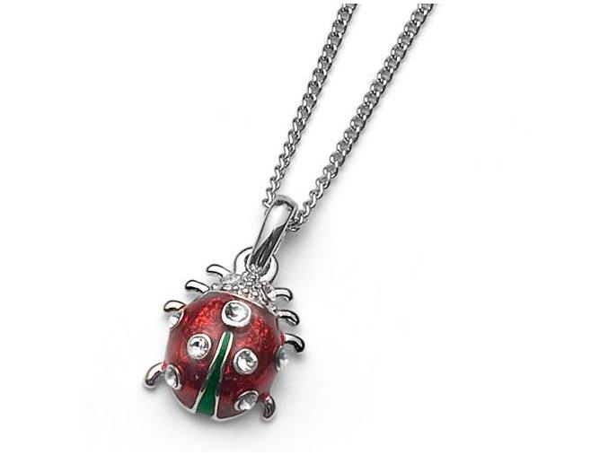 Dětský náhrdelník s krystaly Swarovski - beruška
