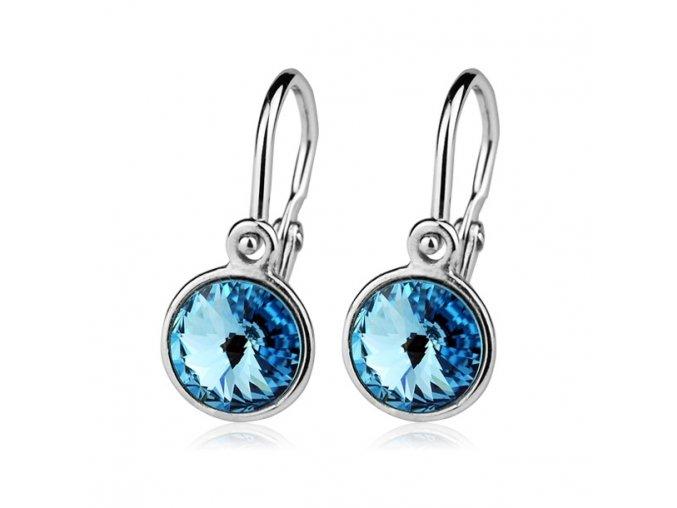 Dětské stříbrné náušnice s krystaly Swarovski - modrá 6 mm