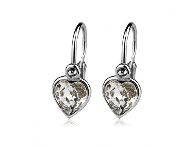 Dětské stříbrné náušnice, krystaly Swarovski - srdce čiré 6,5 mm