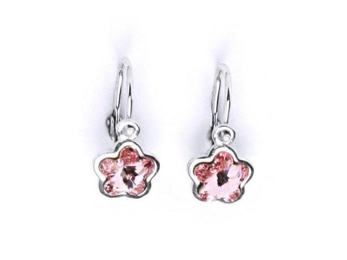 Dětské stříbrné náušnice s krystalem Swarovski - kytička růžová