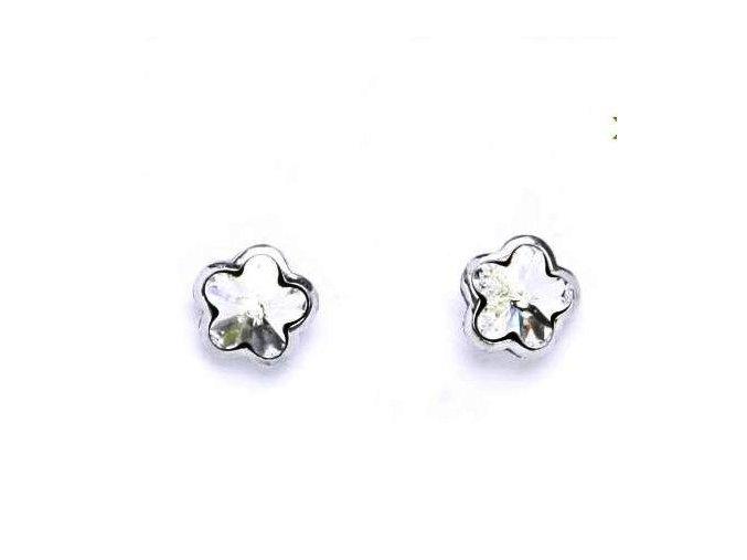 Stříbrné dětské náušnice s krystaly Swarovski - čirá kytička