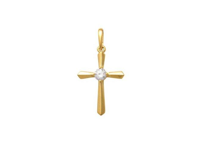 Zlatý křížek se zirkonem