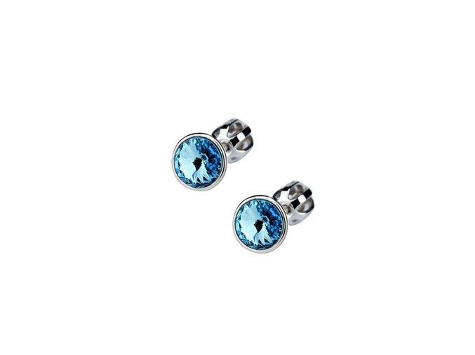 Stříbrné dětské náušnice s krystaly Swarovski - světle modré kolečko