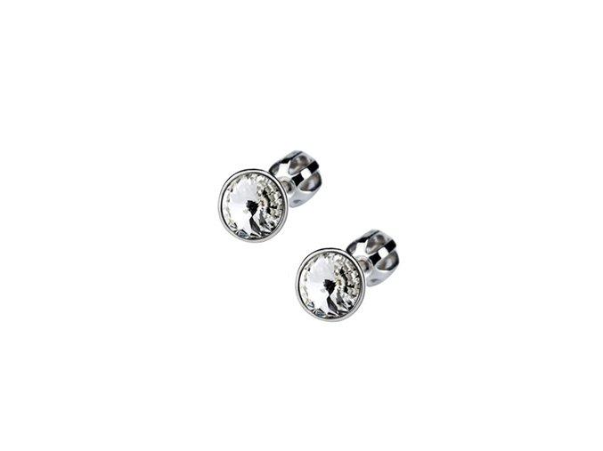 Stříbrné dětské náušnice s krystaly Swarovski - čiré kolečko