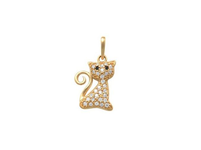 Zlatý dětský přívěsek - kočička se zirkony