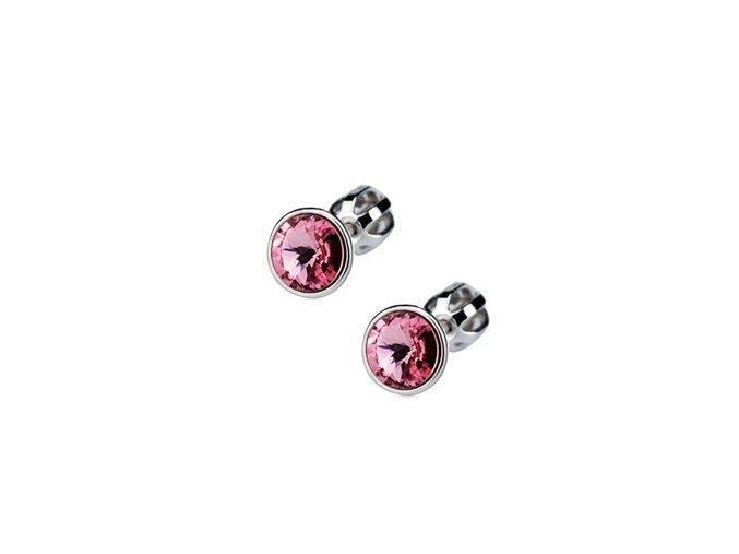 Stříbrné dětské náušnice s krystaly Swarovski - světle růžové  kolečko
