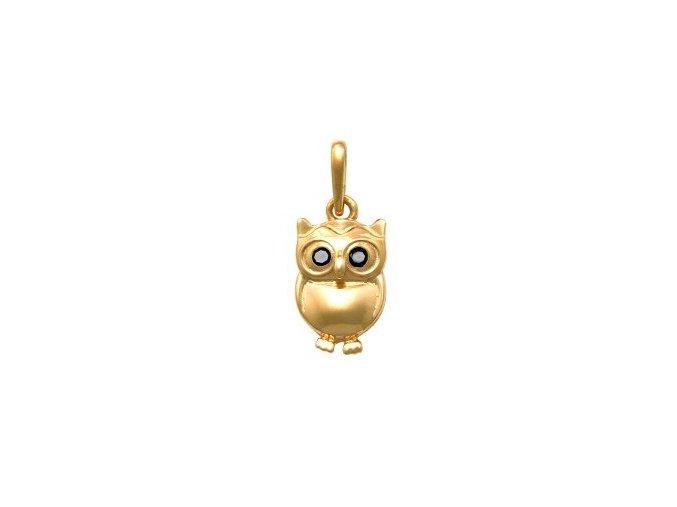 Zlatý dětský přívěsek - sovička