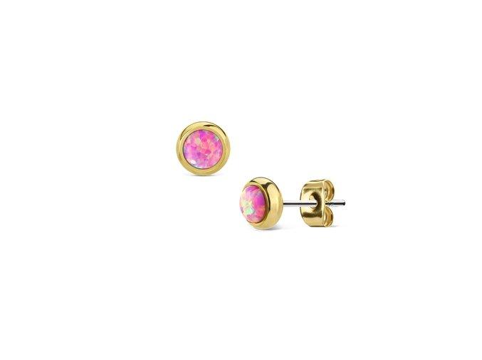 Ocelové pozlacené náušnice s růžovými opály 6 mm