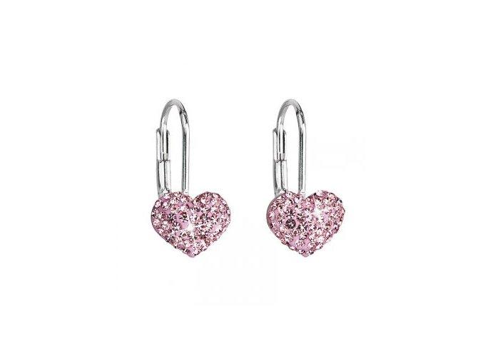 Dívčí stříbrné náušnice SWAROVSKI® elements - srdíčka růžová