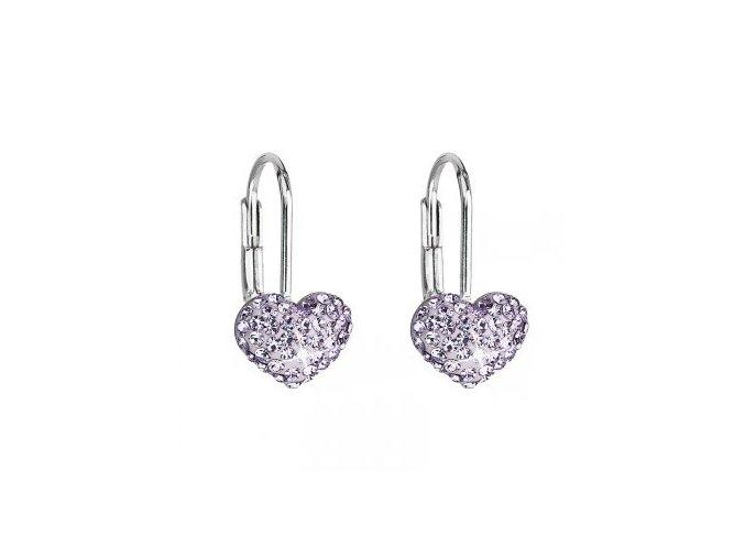 Dívčí stříbrné náušnice SWAROVSKI® elements - srdíčka fialová