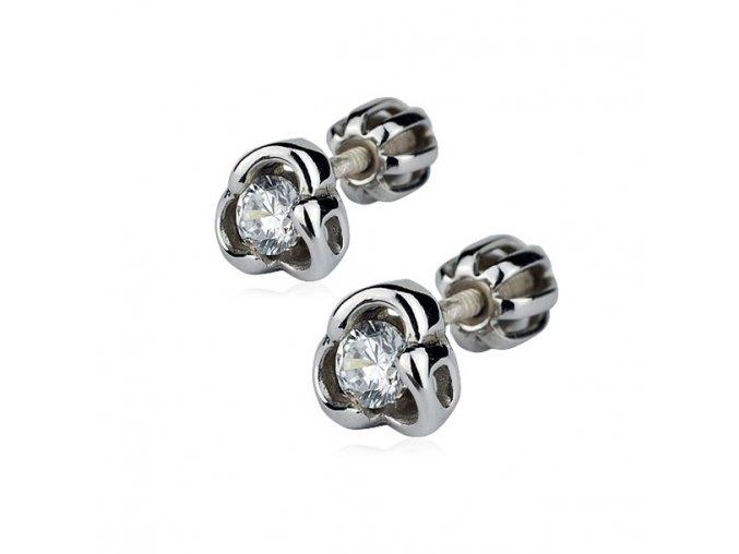 Stříbrné náušnice šroubovací - trojlístky se zirkonem 6 mm