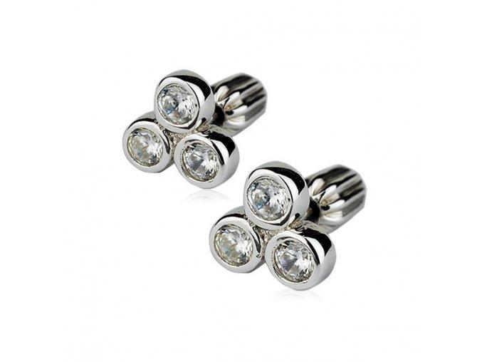 Stříbrné náušnice šroubovací - se třemi zirkony 8 mm
