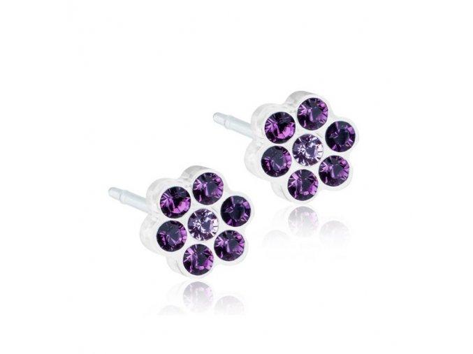 Dětské náušnice květinky tmavě fialové 5 mm - lékařský plast