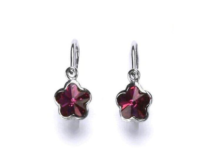 Dětské stříbrné náušnice s krystalem Swarovski - kytička tmavě růžová