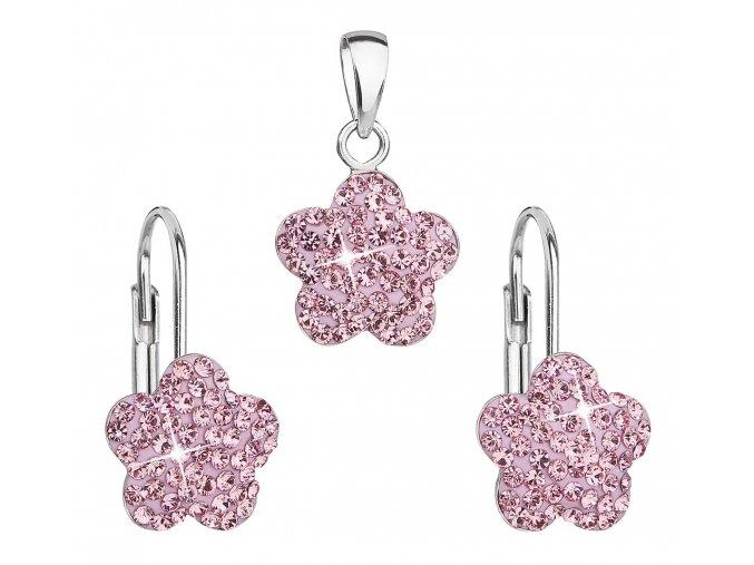 Dívčí stříbrná souprava - kytičky s růžovými krystaly Swarovski