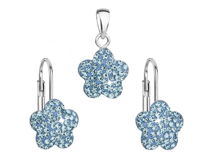 Dívčí stříbrná souprava - kytičky s modrými krystaly Swarovski