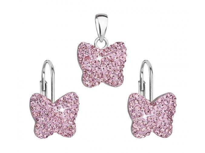 Dívčí stříbrná souprava - motýlci s růžovými krystaly Swarovski