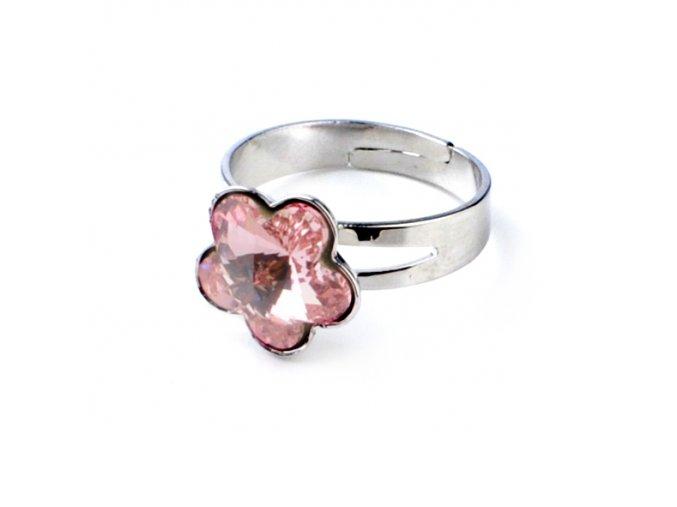 Dětský prsten Swarovski Elements - kytička růžová 10 mm
