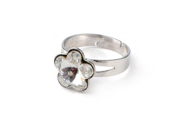 Dětský prsten Swarovski Elements - kytička čirá 10 mm