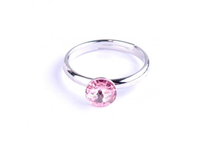 Dětský prsten Swarovski® crystals Rivoli - růžový 6 mm
