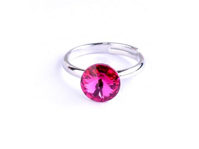 Dětský prsten Swarovski® crystals Rivoli - tmavě růžový 8 mm