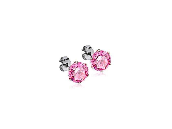 Ocelové náušnice s růžovými zirkony 6 mm