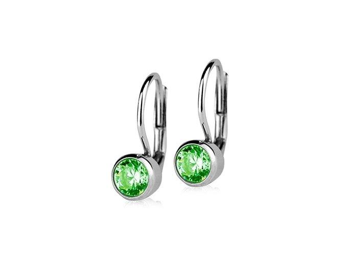 stribrne nausnice se zelenymi kameny 5 mm 014669 pd 30