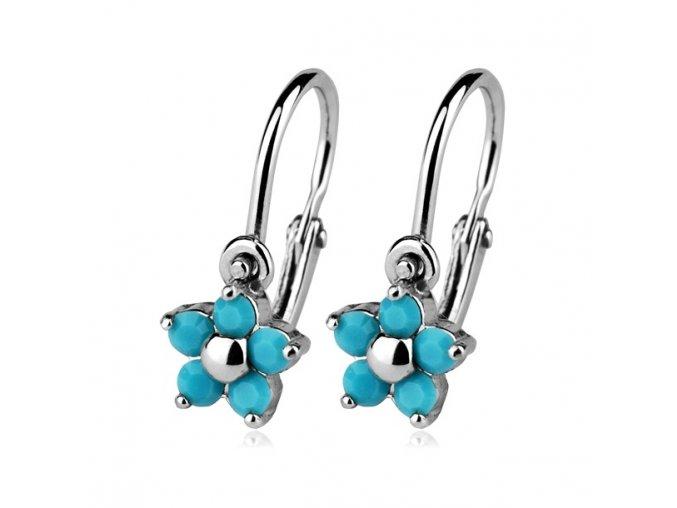 Dětské náušnice - stříbrné kytičky Turquoise, Swarovski® elements 5 mm