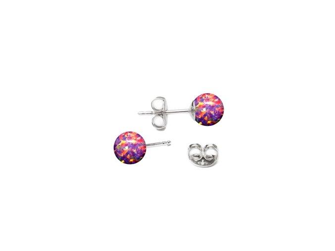 stribrne opalove nausnice 5 mm 073601 pd růžovo fialová
