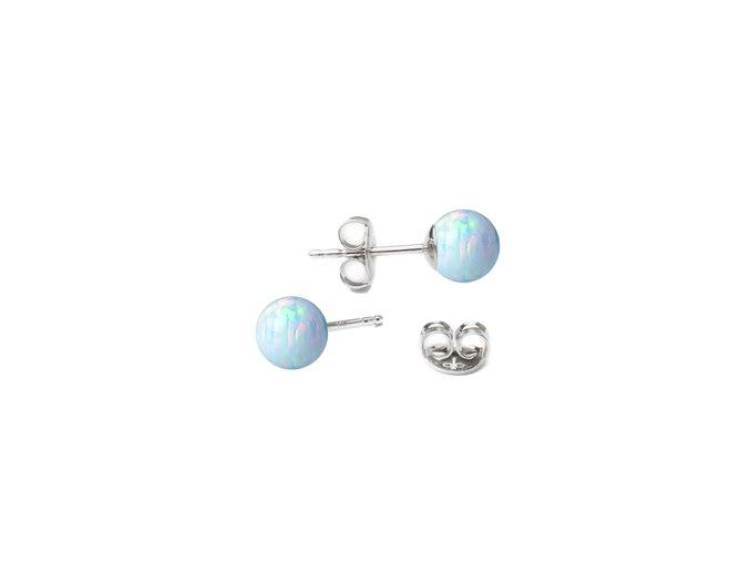 stribrne opalove nausnice 5 mm 073620 pd bílo modrá