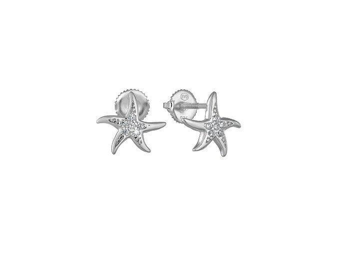 stribrne nausnice morske hvezdice se zirkoy 070036 pd x
