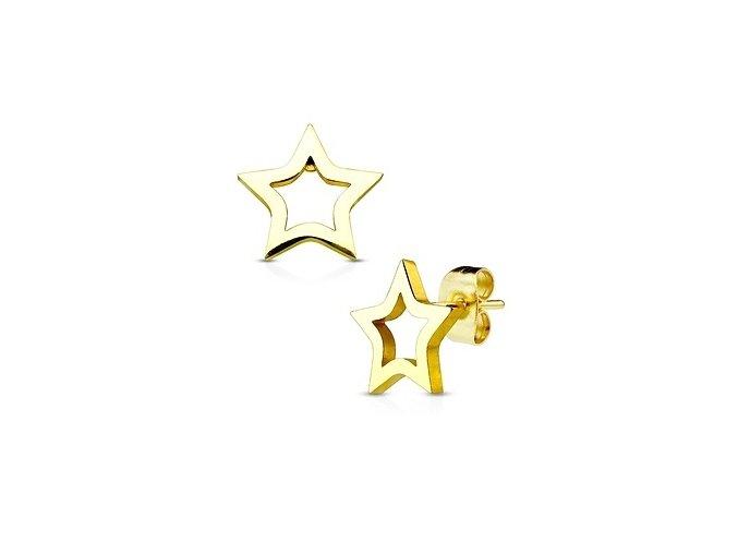 zlacene ocelove nausnice hvezdicky 023667 pd u X