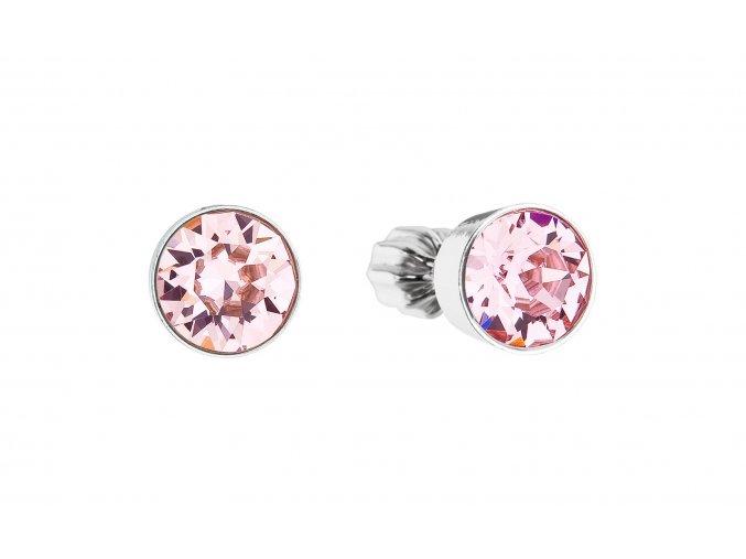 Stříbrné náušnice - kolečka se světle růžovými krystaly Swarovski