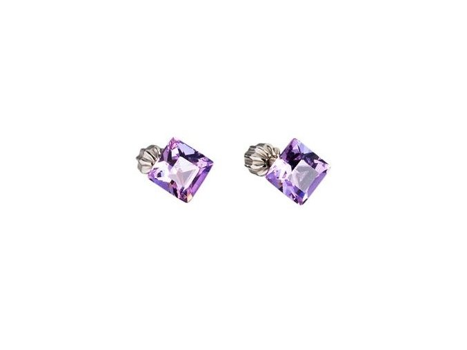 stribrne nausnice crystals from swarovskir violet 061310 pd uu