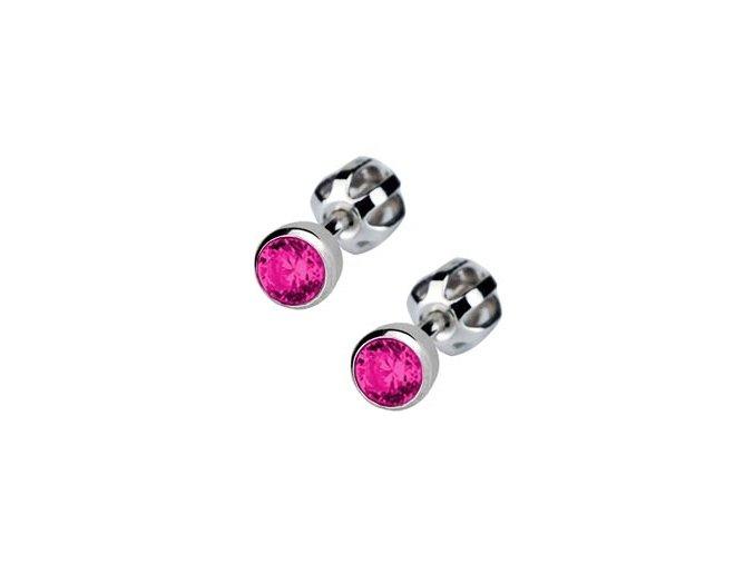 Dětské stříbrné náušnice šroubovací - tmavě růžový zirkon 4 mm