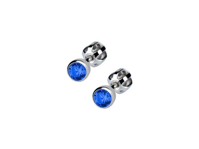 Dětské stříbrné náušnice šroubovací - tmavě modrý zirkon 4 mm