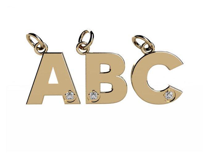 Písmenka ze žlutého zlata se zirkony A-Z