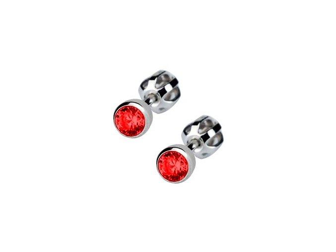 Dětské stříbrné náušnice šroubovací - červený zirkon 4 mm