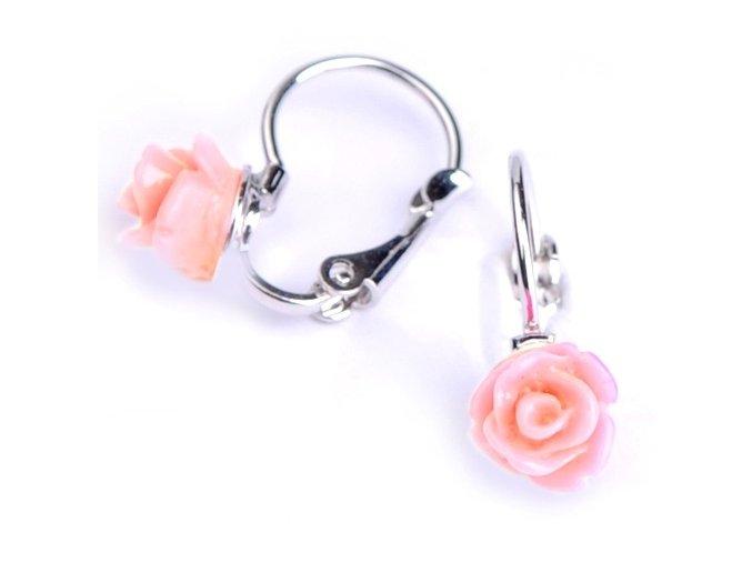 Dětské náušnice - růžičky světle růžové 7x6 mm