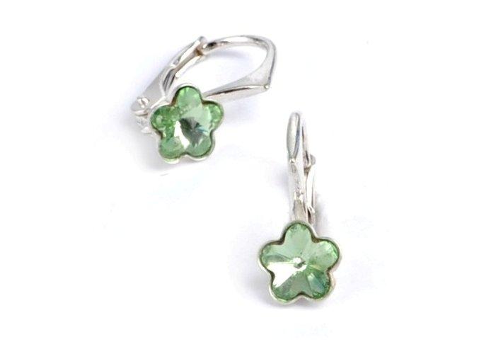 Dětské stříbrné náušnice Swarovski® elements – světle zelené kytičky 6 mm