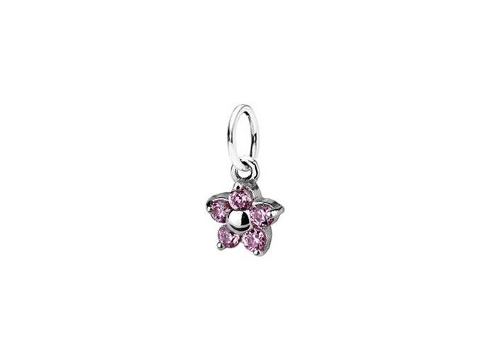 Dětský stříbrný přívěsek se zirkony - světle růžová kytička 5 mm
