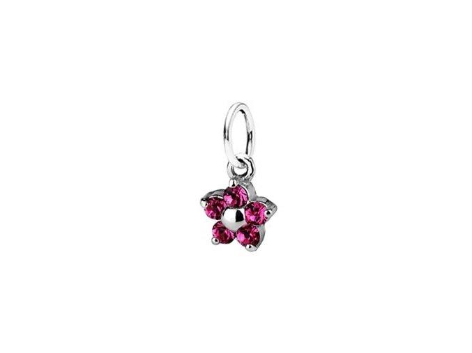 Dětský stříbrný přívěsek Swarovski® elements  - růžová kytička 5 mm