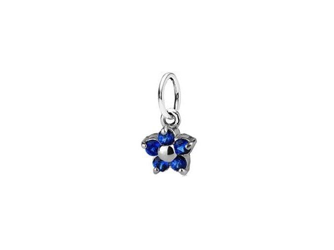 Dětský stříbrný přívěsek se spinely - modrá kytička 5 mm