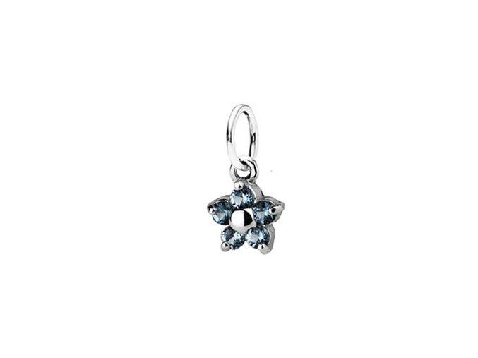Dětský stříbrný přívěsek s akvamaríny - modrá kytička 5 mm